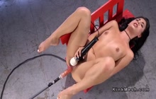 Brazilian babe Gina Valentina fucking with machine